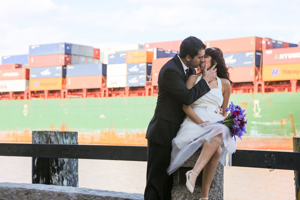 Elopement photography on River Street Savannah GA