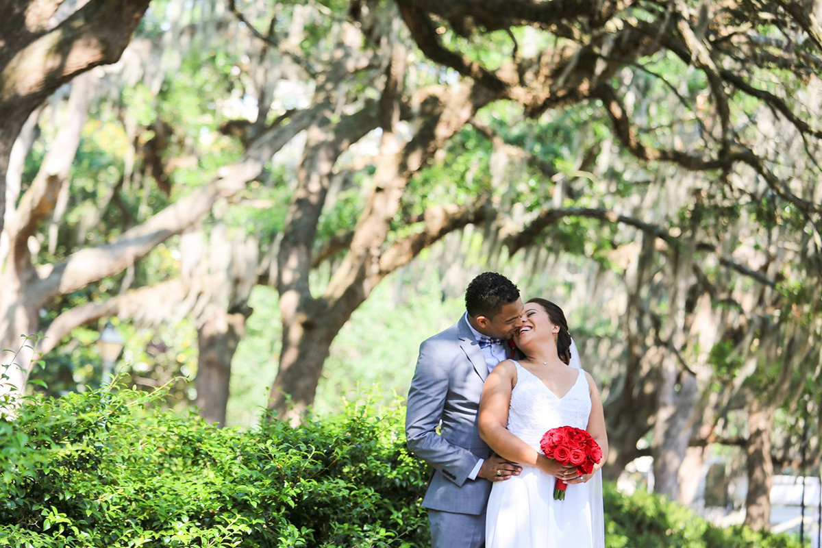 Forsyth Park Savannah GA elopement photo - Spanish Moss